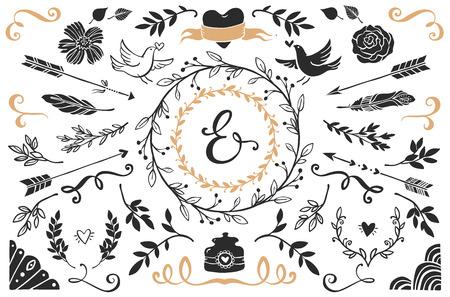 ślub: Ręcznie rysowane zabytkowe elementy dekoracyjne z napisami. Romantyczny ślub projektu wektora zestaw.