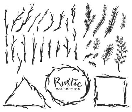 Dessiné à la main en bois millésime branches d'arbres et de couronnes. Conception de vecteur de décoration rustique réglé. Vecteurs