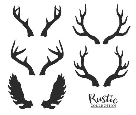 renna: Disegno a mano corna d'epoca. Decorativi rustici elementi di design vettoriale.