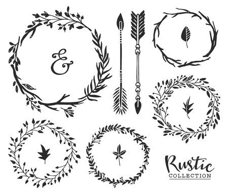 手描きのビンテージ アンパサンド、矢印と花輪。素朴な装飾的なベクターを設定します。