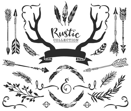 Hand drawn vintage antlers, feathers, arrows with lettering. Rustic decorative vector design set.
