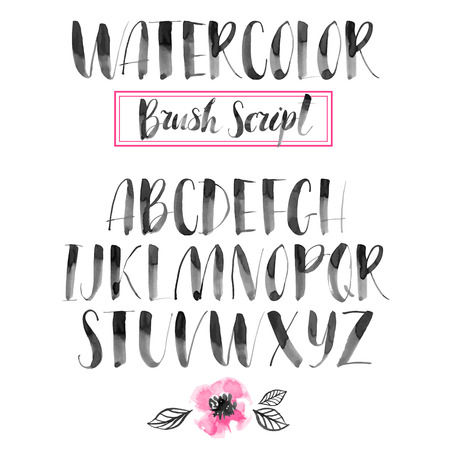 Handwritten watercolor calligraphic font. Modern brush lettering. Hand drawn alphabet. Abstract hand painted flowers.