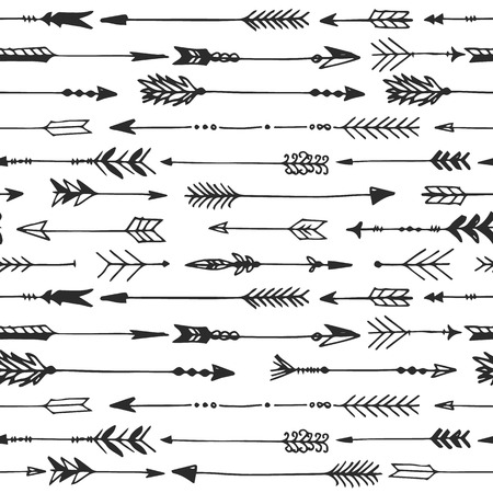 Arrow rustic seamless pattern. Hand drawn vintage vector background. Decorative design illustration.  イラスト・ベクター素材