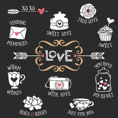 Hand drawn decorative love badges with lettering and sweet things. Vintage vector design elements. Chalk Illustration on blackboard.