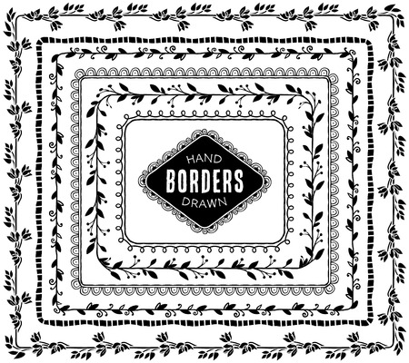 borders: Vintage decorative nature borders. Hand drawn vector design elements. Illustration