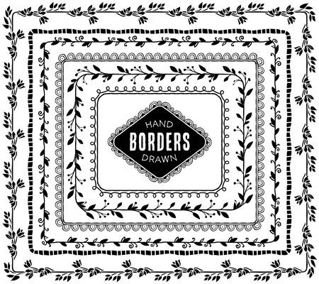lineas decorativas: Vintage fronteras naturales decorativos. Dibujado a mano elementos de dise�o vectorial. Vectores