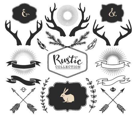 Hand drawn antlers, bursts, arrows, ribbons and frames with lettering. Rustic decorative vector design set. Vintage ink illustration.  イラスト・ベクター素材