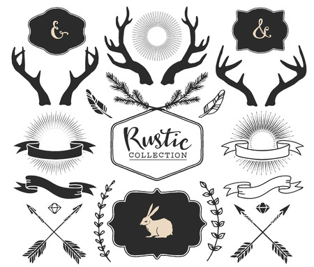 Hand drawn antlers, bursts, arrows, ribbons and frames with lettering. Rustic decorative vector design set. Vintage ink illustration. Иллюстрация