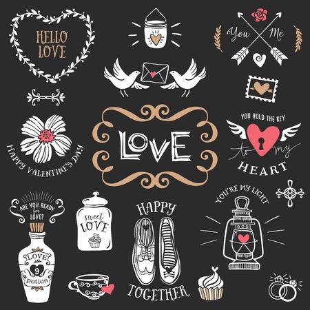blackboard: Dibujado a mano decorativos insignias de amor con letras. Elementos de diseño vectorial Vintage. Tiza Ilustración en la pizarra.