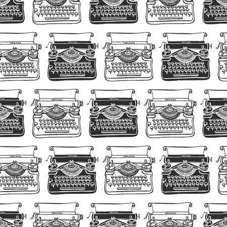 Vintage typewriter seamless background. Hand drawn vector pattern. Decorative design illustration.