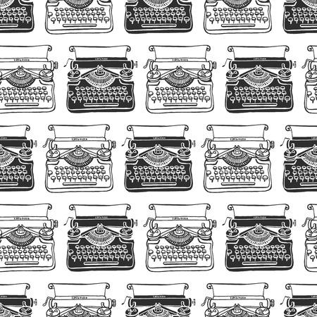 Vintage schrijfmachine naadloze achtergrond. Hand getrokken vector patroon. Decoratief ontwerp illustratie.