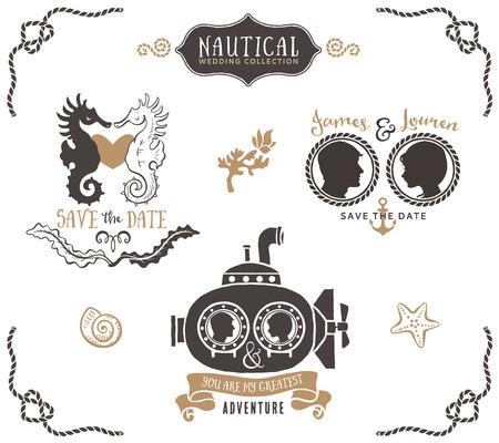 submarino: Dibujado a mano de la boda logo invitación plantillas en estilo náutico. Elementos de diseño vectorial Vintage.