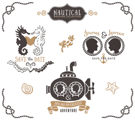 Hand drawn wedding invitation logo templates in nautical style. Vintage vector design elements.