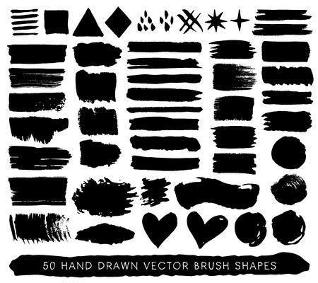 Hand getrokken grunge verf penseel streken, druppels en vormen. Vector decoratieve elementen inkt op een witte achtergrond.
