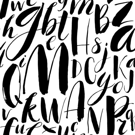 white letters: Handwritten calligraphic font seamless background. Modern brush lettering. Hand drawn vector alphabet.