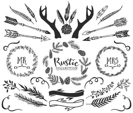düğün: El yazısı ile boynuzları, oklar, tüyler, şeritler ve çelenk çizilmiş. Rustik dekoratif vektör tasarım ayarlayın. Vintage mürekkep illüstrasyon. Çizim