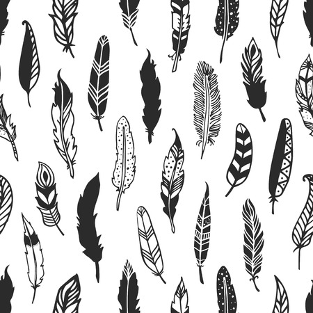 Feather rustic seamless pattern. Hand drawn vintage vector background. Decorative design illustration.