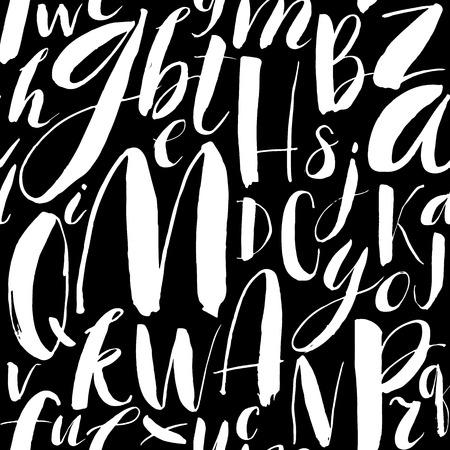 Handwritten calligraphic font seamless background. Modern brush lettering. Hand drawn vector alphabet.