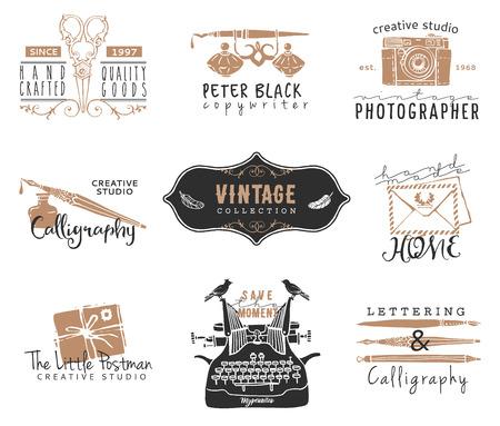 the typewriter: Dibujado a mano viejas plantillas de logotipo papeler�a. Elementos de dise�o de estilo vintage. Tinta ilustraciones decorativas Vectores