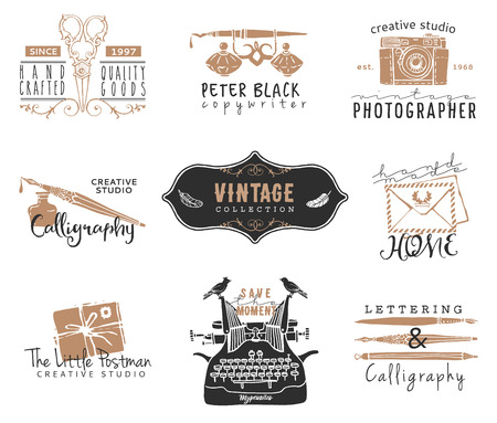 typewriter: Hand drawn old stationery logo templates. Vintage style design elements. Ink decorative illustrations