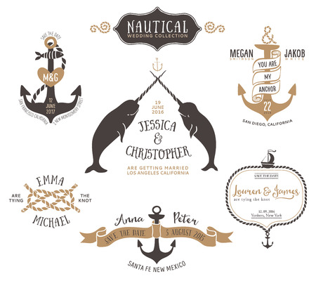 on the ropes: Hand drawn wedding invitation logo templates in nautical style. Vintage vector design elements.
