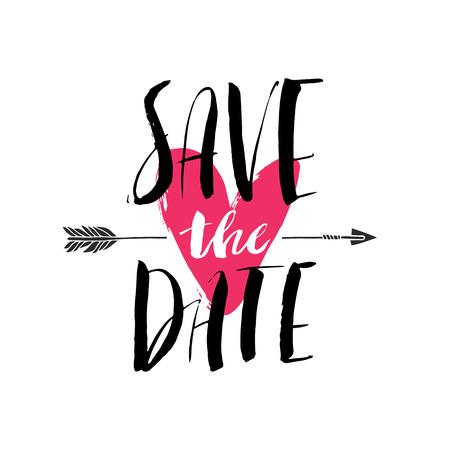 Inktborstel hand belettering. SAVE THE DATE. Moderne kalligrafische handgeschreven achtergrond. Hand getrokken vector illustratie.