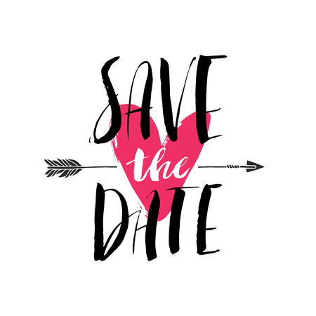 Ink brush hand lettering. SAVE THE DATE. Modern calligraphic handwritten background. Hand drawn vector illustration. Illustration