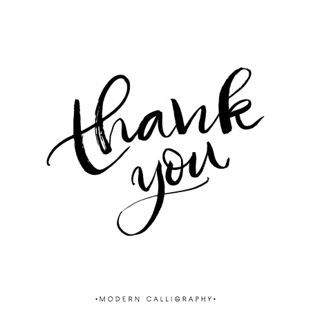 Thank you. Modern brush calligraphy. Handwritten ink lettering. Hand drawn design elements. Stock fotó - 45058342