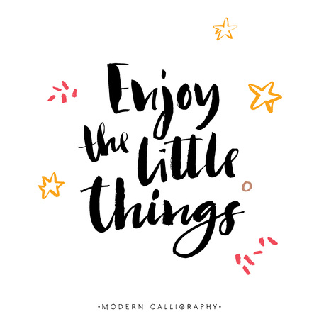 Enjoy the little things. Modern brush calligraphy. Handwritten ink lettering. Hand drawn design elements. 版權商用圖片 - 45058348