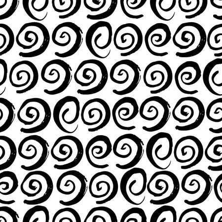 circles pattern: Hand drawn seamless swirl pattern. Dry brush and rough edges ink doodle illustration. Abstract vector background Illustration