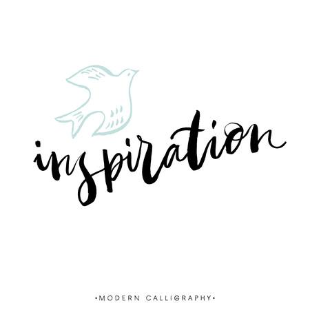 Inspiration. Modern brush calligraphy. Handwritten ink lettering. Hand drawn design elements.