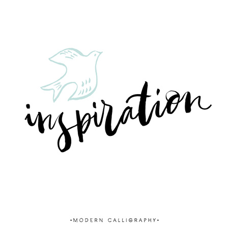 Inspiration. Modern brush calligraphy. Handwritten ink lettering. Hand drawn design elements.