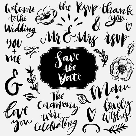 señora: Caligrafía boda y colección de letras. Ampersands y consignas. Dibujado a mano elementos de diseño.