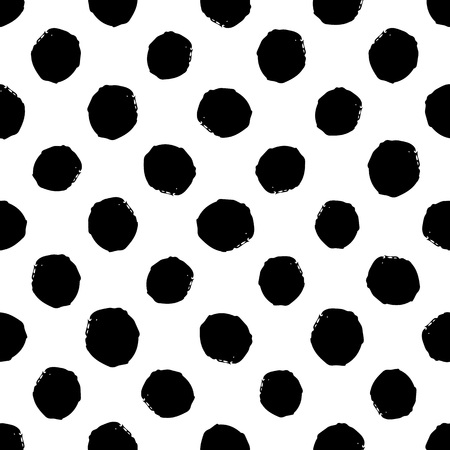 Hand drawn seamless dot pattern. Dry brush and rough edges ink illustration. Abstract vector background Vettoriali