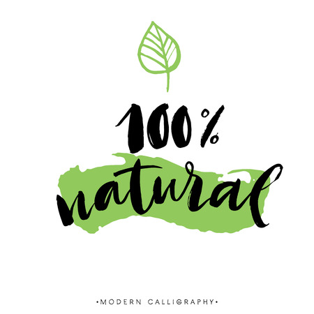 100 % natural. Modern brush calligraphy. Handwritten ink lettering. Hand drawn design elements. Vectores