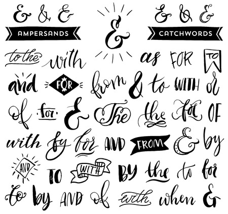 write a letter: Ampersands and catchwords. Handwritten calligraphy and lettering collection. Hand drawn design elements.