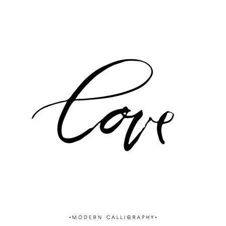 LOVE. Modern brush calligraphy. Handwritten ink lettering. Hand drawn design elements.
