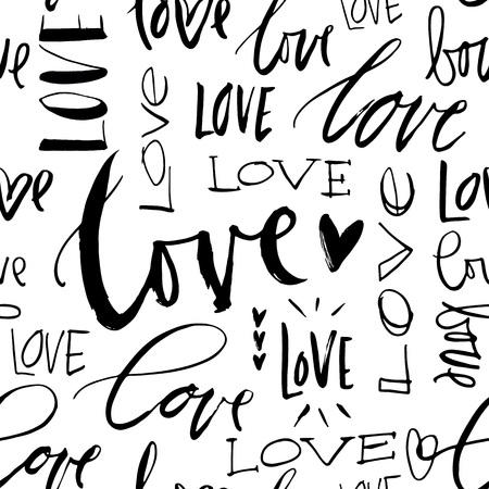 LOVE seamless background. Modern brush calligraphy. Handwritten lettering. Hand drawn design elements.
