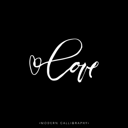 LOVE. Modern brush calligraphy. Handwritten lettering. Chalk on black background. Hand drawn design elements.