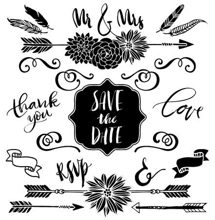 결혼식 그래픽 세트, 화살표, 꽃, 곱슬 머리, 리본 및 라벨. 앰퍼샌드 및 표어. 손으로 디자인 요소를 그려. 서예와 문자.