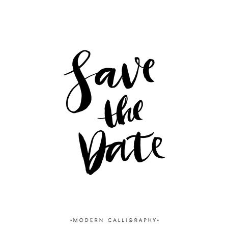 Save the Date. Modern brush calligraphy. Handwritten ink lettering. Hand drawn design elements. Stock Illustratie
