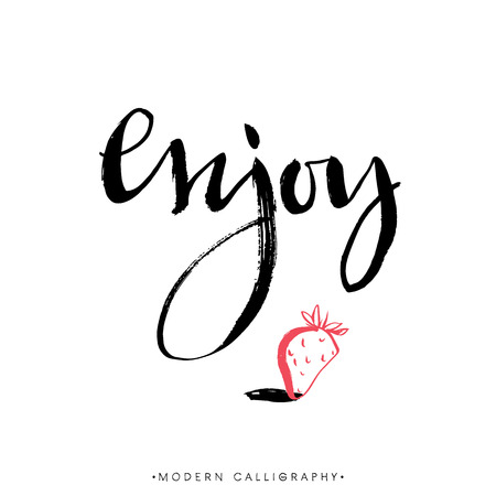 Enjoy. Modern brush calligraphy. Handwritten ink lettering. Hand drawn design elements.