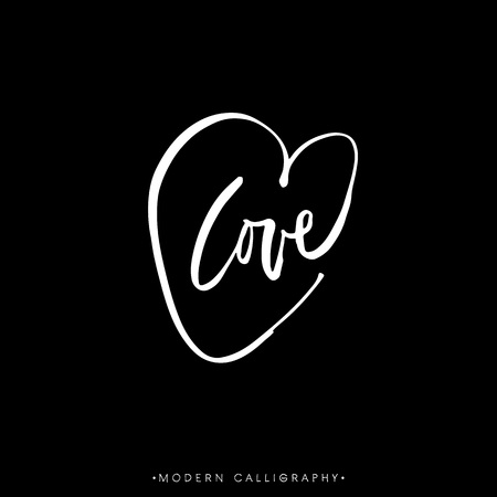 word love: LOVE. Modern brush calligraphy. Handwritten lettering. Chalk on black background. Hand drawn design elements.