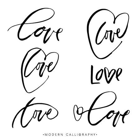 LOVE. Modern brush calligraphy. Handwritten ink lettering. Hand drawn design elements.