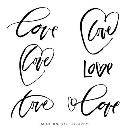 LOVE. Modern brush calligraphy. Handwritten ink lettering. Hand drawn design elements. Stock fotó - 45957946