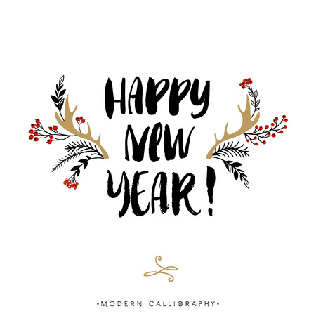 Happy New Year. Christmas calligraphy. Handwritten modern brush lettering. Hand drawn design elements.