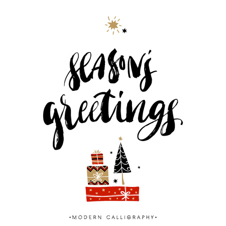 greeting card: Seasons greetings. Christmas calligraphy. Handwritten modern brush lettering. Hand drawn design elements. Illustration