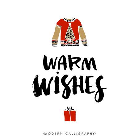 winter wish: Warm wishes. Christmas calligraphy. Handwritten modern brush lettering. Hand drawn design elements.