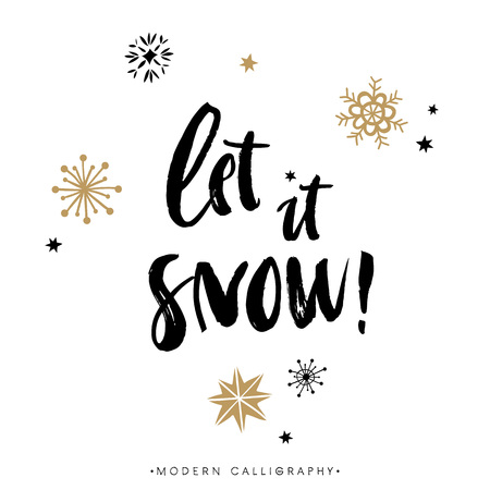 snow: Let it snow! Christmas calligraphy. Handwritten modern brush lettering. Hand drawn design elements. Illustration