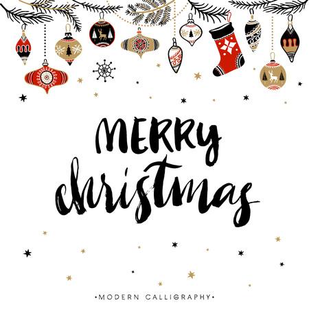 メリー クリスマス。クリスマス書道。モダンな筆文字を手書きします。手描きデザイン要素です。